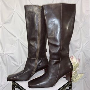 Anne Klein Knee High Chocolate Brown Leather Boot